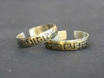 Adjustable Tibetan Copper Carved Brass Mantra OM MANI PADME HUM Amulet Ring