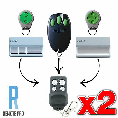 2 x Merlin+ C945 CM842 C940 C943 Bearclaw Plus Replacement Garage Remote Control