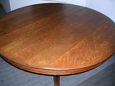 antique solid quartersawn oak 54 inch round table carved pedestal claw feet