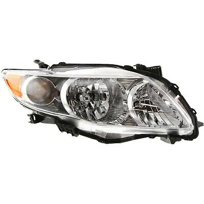 Headlight Set For 2009-2010 Toyota Corolla Left and Right Chrome Housing 2Pc