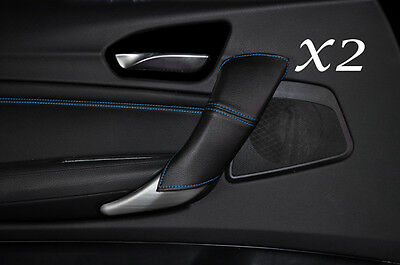 Blue Stitch Fits Bmw 1 Series F20 F21 10-13 2X Rear Door Handle Covers Leather