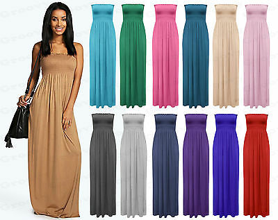 Womens Plain Plus Size Boob Tube Sheering Long Bandeau Summer Maxi Dress UK 8-20