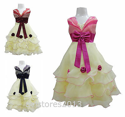 Girls Party Dress Flowers Bow Wedding Pageant Bridesmaid Age 2 - 12 years 1270