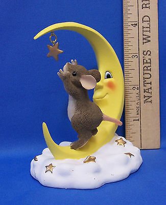 Fitz & Floyd Charming Tails Figurine Reach For The Stars Mouse Crescent Moon