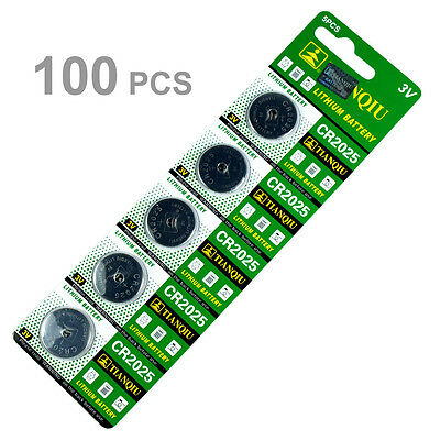 100 PCS CR2025 Lithium Battery 3V Button Cell for Digital Scales Calculators TQ