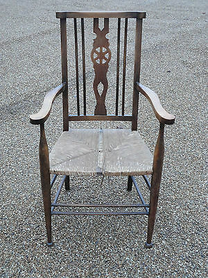 Antique Country Rustic Wheelback Carver Armchair Rush Seat *** Project ***