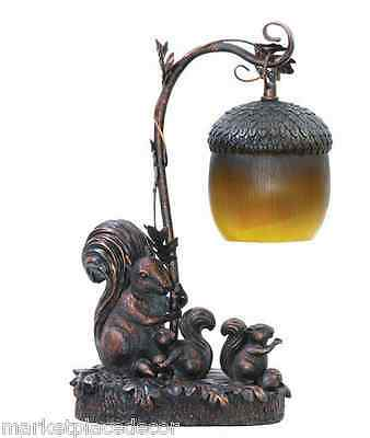 Squirrel Acorn Light Table Lamp Desk Accent Bronze Finish 91-768