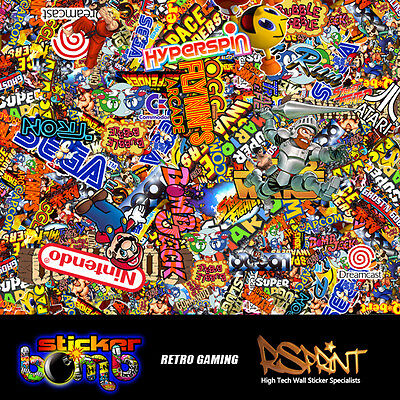 StickerBomb Colour Sticker Graphic  Wrap Multipurpose Retro Game Theme V.Large