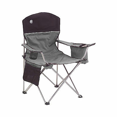 Coleman Oversized Quad Chair with Cooler and Cup Holder, Black/Gray   2000020256