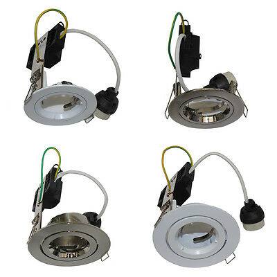 240V LED Recessed Downlight Frames with GU10 LED Connector in White or Silver