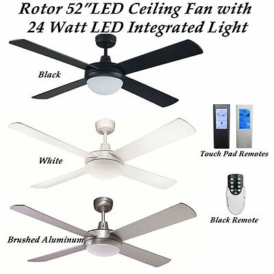 Rotor 52 inch Ceiling fan with Integrated 24 Watt LED Cool White Light