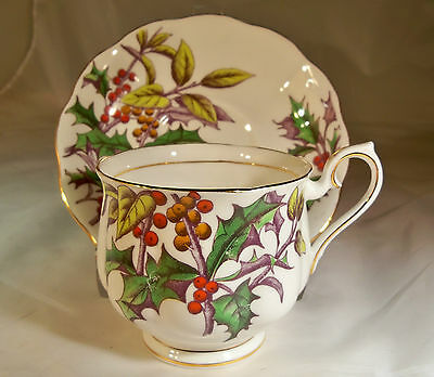 VINTAGE ROYAL ALBERT BONE CHINA HOLLY #12 FLOWER of the MONTH CUP & SAUCER SET!