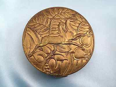 Vintage Art Deco Brass Compact, Stylized Leaping Doe and Stag, Evans Case Co.
