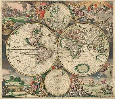 1689 Interesting Historic Old World Map 24x28