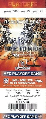 2013-14 Nfl Afc Divisional Playoffs Chargers @ Broncos Full Football Ticket - Ex