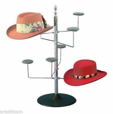 AYS Retail Women's Counter Hat Display Rack (Chrome Finish w/Black Plastic Base)