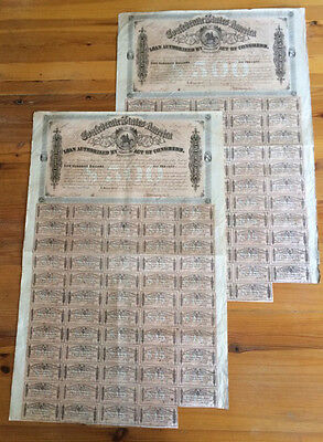 CONFEDERATE STATES of AMERICA $500 CONSECUTIVE BONDS 7186 & 7 CSA 59 COUPON 1864