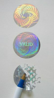 "100 High Security Hologram Label Tamper Proof 1.00"" Guilloche Sticker Seal"