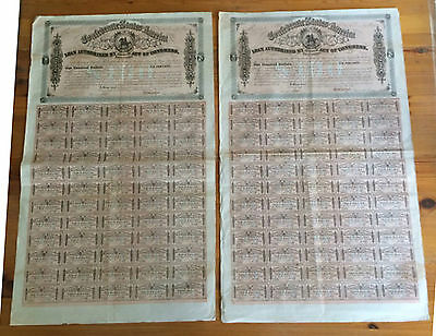 CONFEDERATE STATES of AMERICA $100 CONSECUTIVE BONDS 480 & 1 CSA 60 COUPONS 1864
