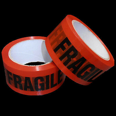 2 Rolls FRAGILE Sticky Packing Tape 75 Meter x48mm Black on Red High Quality