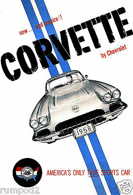 Vintage Car Poster -  - Corvette/1958 Chevy Corvette/Classic Car 13x19 inch