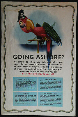 "WW2 ORIGINAL poster ""Going Ashore?"" warning sailors not to talk about movements"