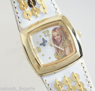 Disney Girls Miley Cyrus Hannah Montana White Gold Tone Accent Leather Strap