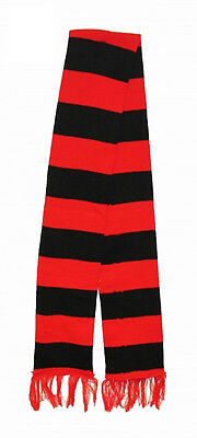 Red And Black Striped Fancy Dress Scarf Football Style Book Day Party Accessory