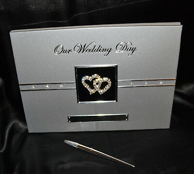 Wedding/Bridal Our Wedding Day Silver Double Diamante Love Hearts Guest Book