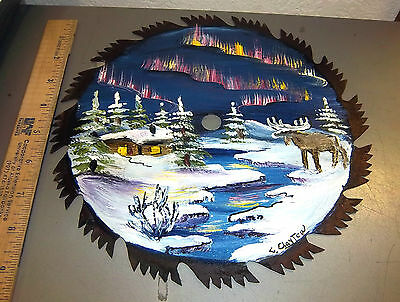 Alaska Hand Painted Saw Blade ART, Winter Cabin scene w/ Northern Lights, 9.5 in