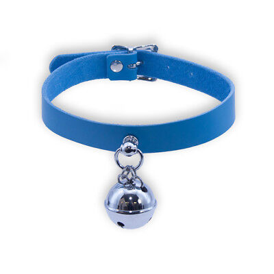 PAWSTAR Light Blue Bell Collar - Real Top Grain Leahter For People Cat [LB]5049
