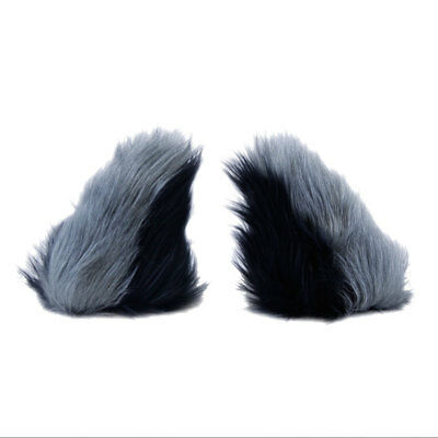 PAWSTAR NECOMIMI Ear SLEEVES ONLY - Wolf Cub Gray cosplay Black [BK/GY]3079
