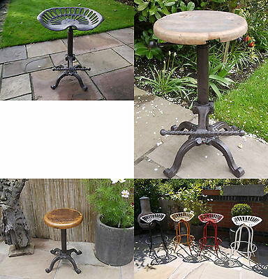 Urban Vintage Industrial Metal/Cast Iron Bar Stools Reclaimed Wood/Tractor Seat