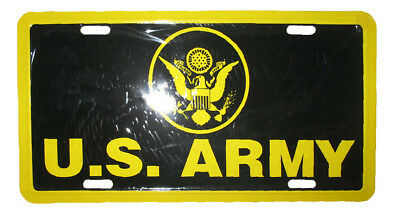 """Black and Gold US Army 6""""x12"""" Aluminum License Plate Tag"""