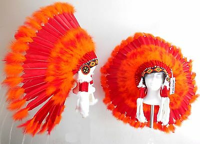 "Genuine Native American Navajo Indian Headdress 36"" RED SUN Red & bright Orange"