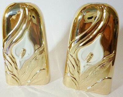 Salt And Pepper Shakers-Gold Metal-Japan