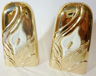 Salt And Pepper Shakers-Gold Plated Metal-Japan