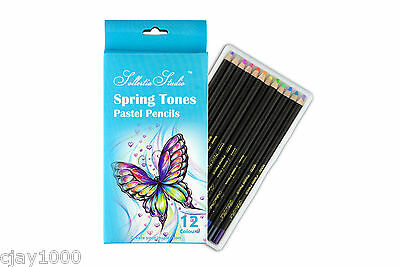 12PC Sollertia Studio Artist Spring Tones Pastel Pencils Coloured Pencils