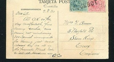 1920 Spain Paquebot To England