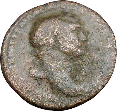TRAJAN 98AD Ancient Rare Large Roman Coin Good fortune Prosperity Cult  i37736