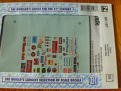 """Microscale Decal N  #60-197 Structure Signs """"Automotive, Soft Drinks, etc."""""""