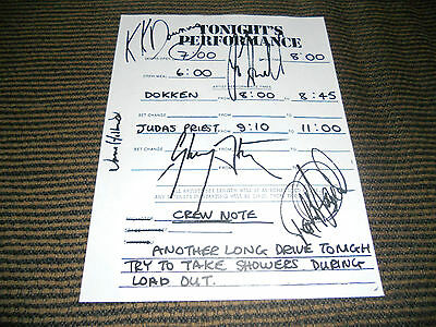 Judas Priest Signed Autographed Tour Paper Show Notes COPY W/ Dokken Opening