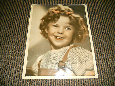 SHIRLEY TEMPLE Vintage Studio Mailed Colorized 8x10 Photo W printed Autograph