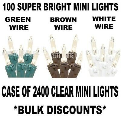 Case 2400 Outdoor Mini Light String Lights - 24 Sets of 100 Clear Mini Lights