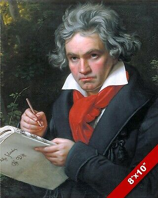 Ludwig Von Beethoven Music Art Portrait Painting 8X10 Real Canvas Giclee Print