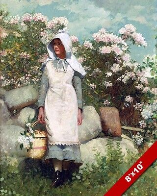 Girl & Flowers Winslow Homer Fine Art Painting Real Canvas Giclee 8X10 Print