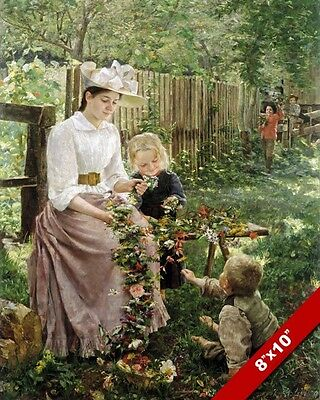 Mother Kids Flower Daisy Chain Fine Art Painting Real Canvas Giclee 8X10 Print