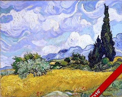 Wheat Field Cypress Van Gogh Painting Fine Art Real Canvas Giclee 8X10 Print