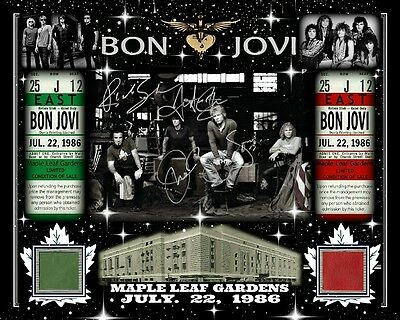 BON JOVI SIGNED RP 8x10 PHOTO JULY 22, 1986 W/ MAPLE LEAF GARDENS RED-GREEN SEAT