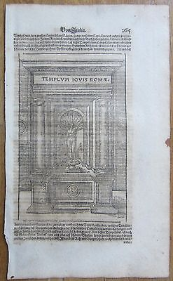 MÜNSTER/MUNSTER: Cosmographia Large Woodcut Temple Rome Italy - 1628